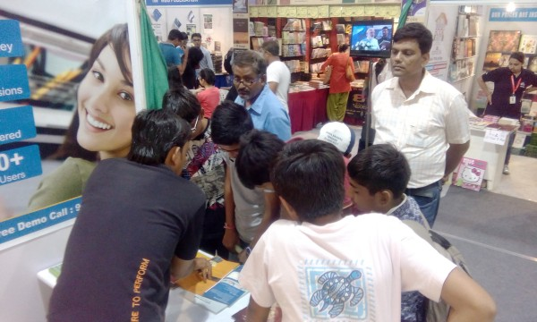 SmartGuru Expert Team interacting with the visitors at exhibition stall at the National Book Fair, Ahmedabad 2016