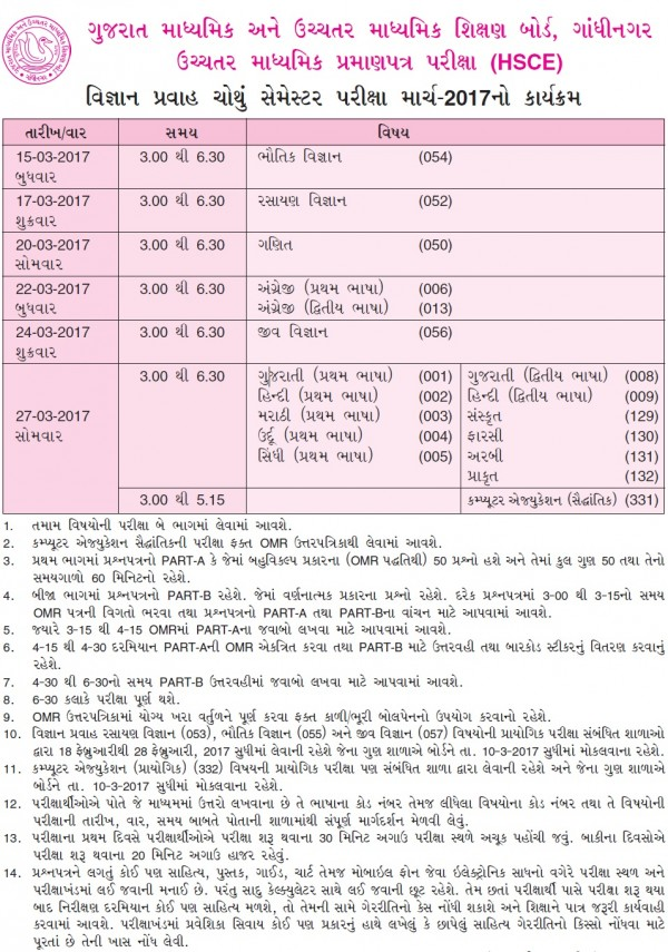 12th science board exams schedule 2017 in gujarat for 12th time table