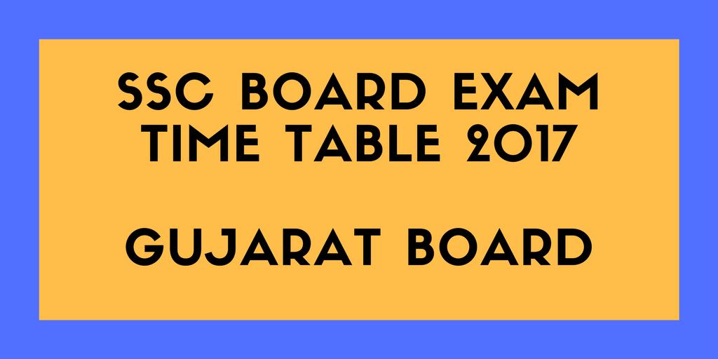 10th Board Exams Time Table 2017 in Gujarat